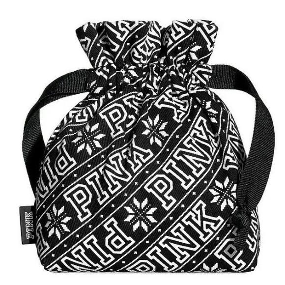 PINK Victoria's Secret Handbags - Victoria's Secret PINK Snowflake Drawstring Pouch